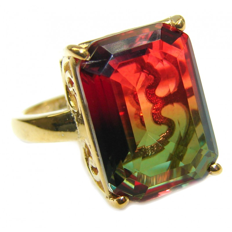 HUGE Top Quality Magic Volcanic Tourmaline 18K Gold over .925 Sterling Silver handcrafted Ring s. 8