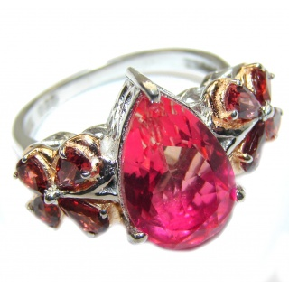 Pear cut Pink Topaz .925 Sterling Silver handcrafted Ring s. 9 1/4