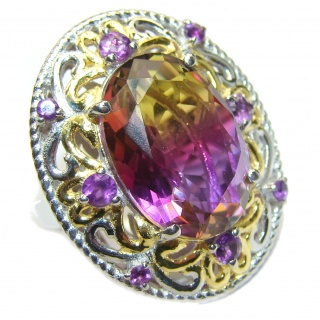 HUGE Oval cut Ametrine 18K Gold over .925 Sterling Silver handcrafted Ring s. 6 1/4