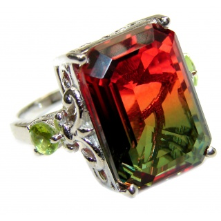 HUGE emerald cut Volcanic Tourmaline Topaz .925 Sterling Silver handcrafted Ring s. 8 1/4
