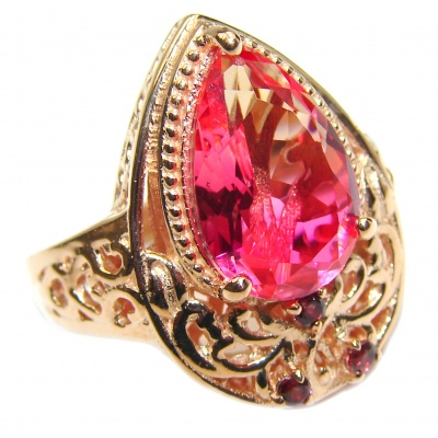 HUGE Top Quality Magic Volcanic Pink Topaz 18K Gold over .925 Sterling Silver handcrafted Ring s. 8 1/4