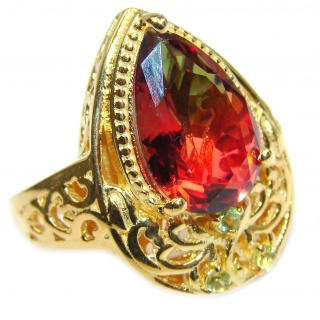 HUGE Top Quality Magic Volcanic Touramline 18K Gold over .925 Sterling Silver handcrafted Ring s. 8 1/4