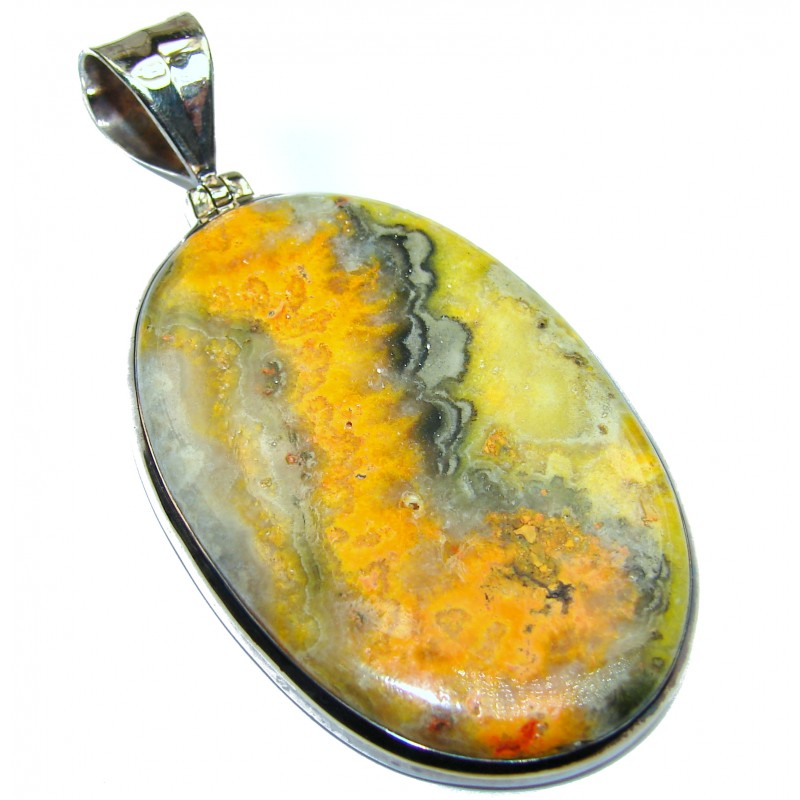 Huge Authentic Volcanic Bubble Bee Jasper oxidized .925 Sterling Silver handmade Pendant