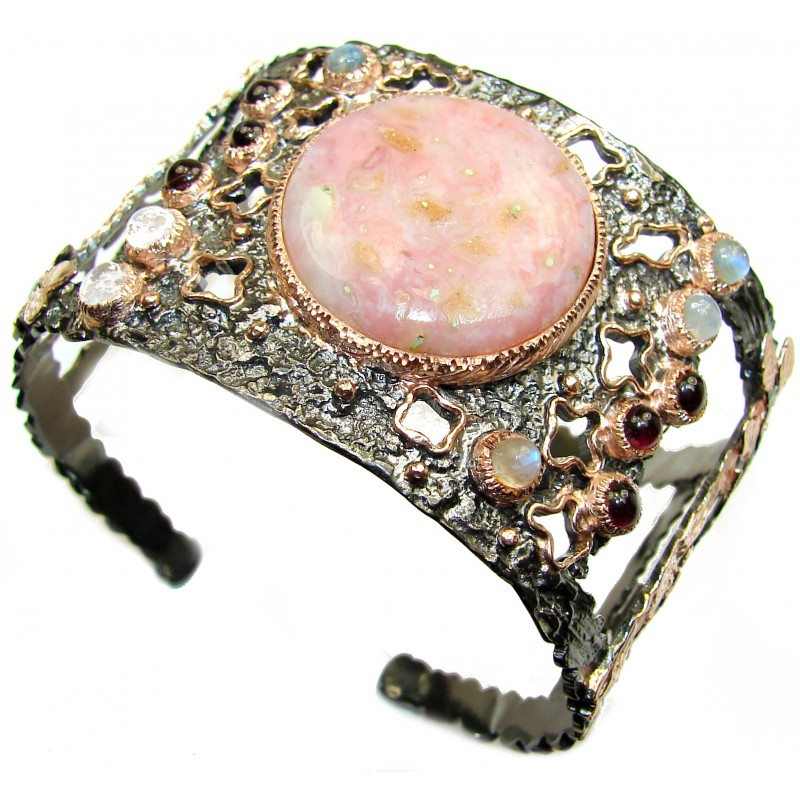 Enchanted Forest Pink Opal Rose Gold Rhodium over .925 Sterling Silver handcrafted Bracelet / Cuff