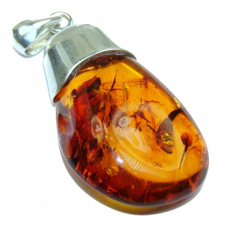 OUTSTANDING Natural Baltic Amber .925 Sterling Silver handmade Pendant