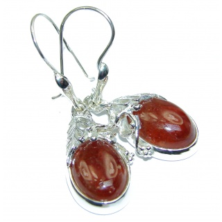 Back to Nature Authentic 65ct Hessonite Garnet .925 Sterling Silver handmade earrings