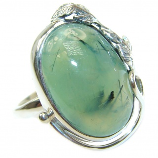Natural Moss Prehnite .925 Sterling Silver handmade ring s. 8 adjustable