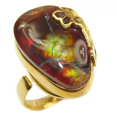 Mystery Genuine Fire Agate 18K Gold over .925 Sterling Silver Ring size 7 adjustable
