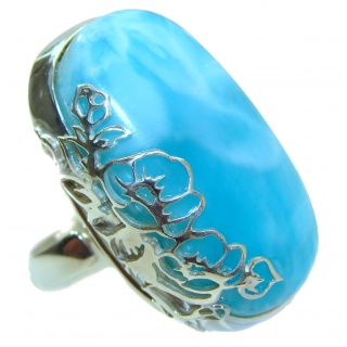Huge Sublime Natural Larimar .925 Sterling Silver handcrafted Ring s. 8 adjustable