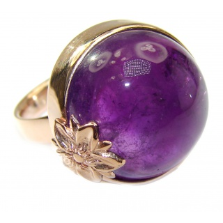 Spectacular genuine Amethyst Rose Gold over .925 Sterling Silver handcrafted Ring size 7 adjustable