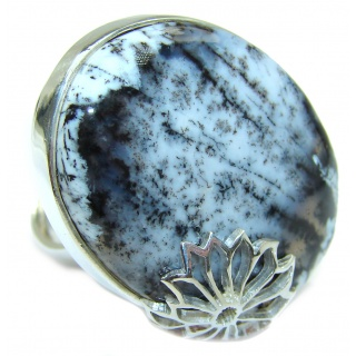 Top Quality Dendritic Agate .925 Sterling Silver hancrafted Ring s. 8 adjustable