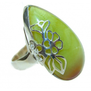 Natural Beauty Green Opal .925 Sterling Silver handcrafted ring s. 8