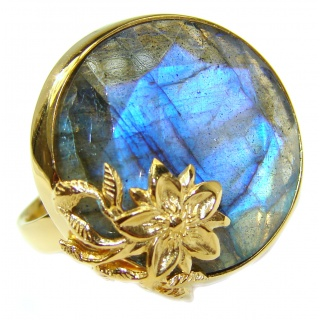Fire Labradorite 18K Gold over .925 Sterling Silver handmade ring size 7 adjustable