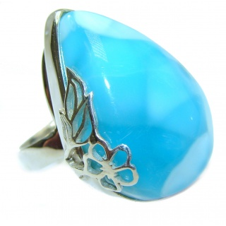 Huge Natural Larimar .925 Sterling Silver handcrafted Ring s. 7 1/2