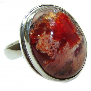 Genuine Mexican Agate .925 Sterling Silver handmade Ring size 7 adjustable