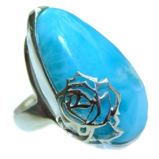 Huge Natural Larimar .925 Sterling Silver handcrafted Ring s. 7 adjustable