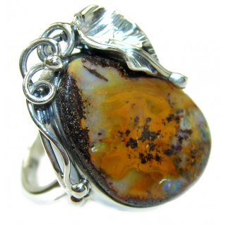 Huge Australian Boulder Opal .925 Sterling Silver handcrafted ring size 8 adjustable