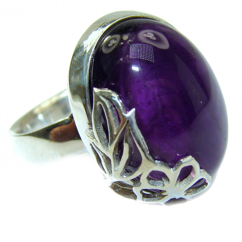 Spectacular genuine Amethyst .925 Sterling Silver handcrafted Ring size 7 adjustable