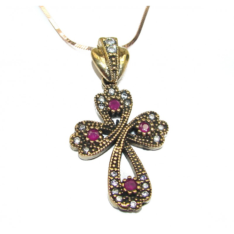 Holy Cross created Ruby .925 Sterling Silver handmade Necklace