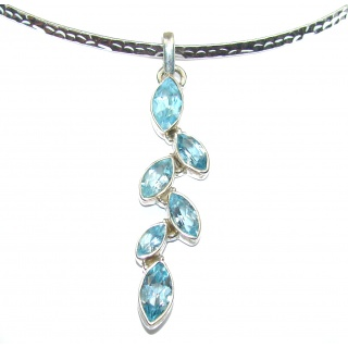 Swiss Blue Topaz .925 Sterling Silver handcrafted necklace