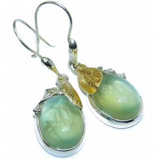 Authentic Juicy Moss Prehnite 18K Gold over .925 Sterling Silver handmade earrings