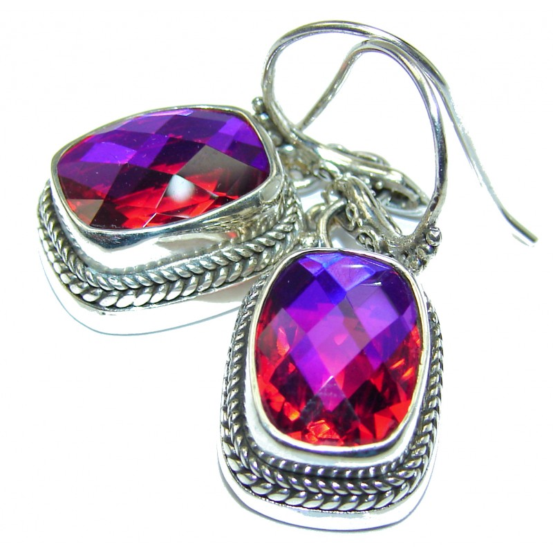 Amazing Pink volcanic Topaz .925 Sterling Silver handmade earrings