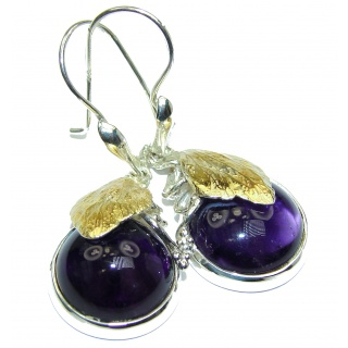 Authentic pure Perfection Amethyst 18k Gold over .925 Sterling Silver handmade earrings