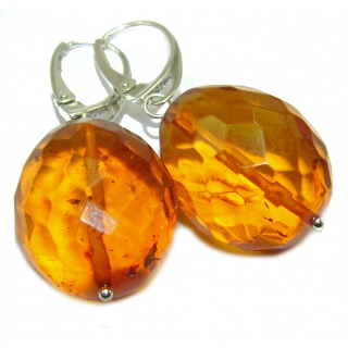 rare Authentic faceted Baltic Amber .925 Sterling Silver handmade Earrings
