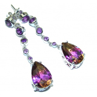 Sublime Ametrine .925 Sterling Silver entirely handmade earrings
