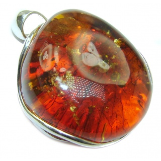 OUTSTANDING Cognac Natural Baltic Amber .925 Sterling Silver handmade Pendant