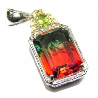 Deluxe Tourmaline color Topaz 18K Gold over .925 Sterling Silver handmade Pendant
