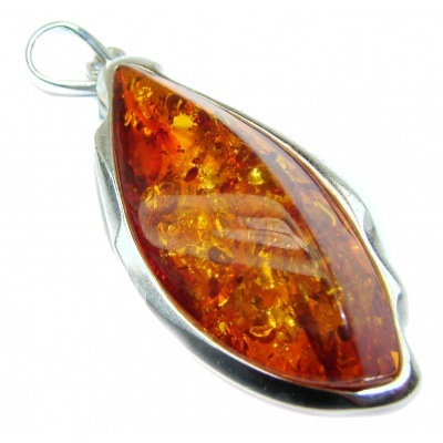 LARGE Natural Baltic Amber .925 Sterling Silver handmade Pendant