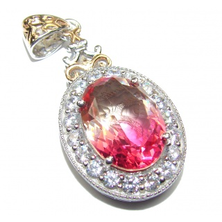 Deluxe Oval cut pink Topaz 18K Gold .925 Sterling Silver handmade Pendant