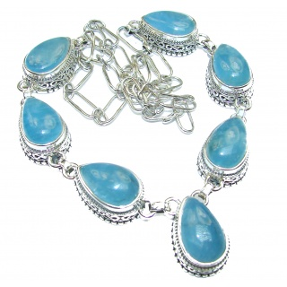 Chunky Authentic Aquamarine .925 Sterling Silver handcrafted necklace