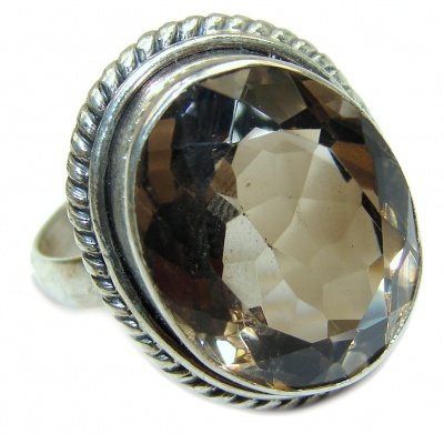 MASSIVE Authentic Smoky Topaz .925 Sterling Silver handcrafted ring; s. 11