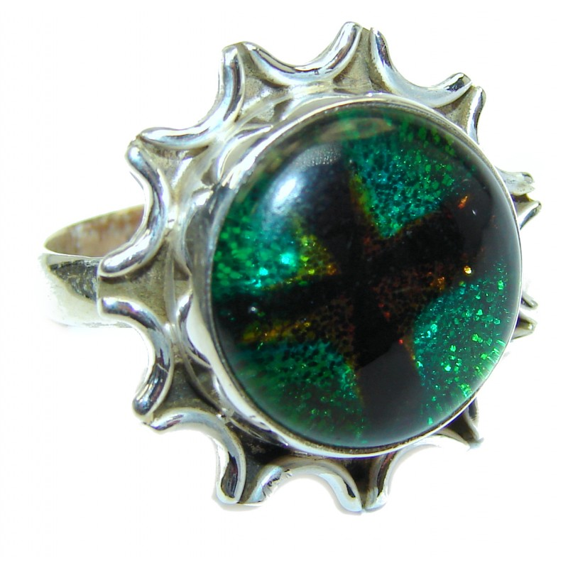 Dichroic Glass .925 Sterling Silver handcrafted Ring s. 8 3/4