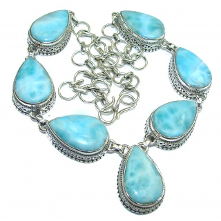 HUGE One of the kind Nature inspired Larimar .925 Sterling Silver handmade necklace