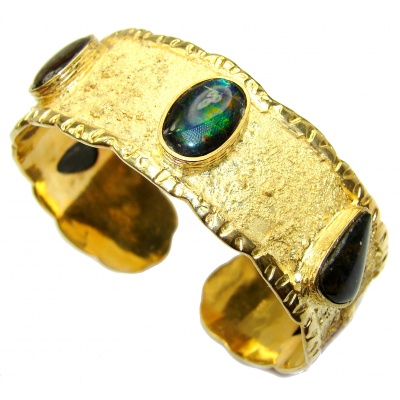One in the World Natural Ammolite 18K Gold over .925 Sterling Silver handcrafted Bracelet / Cuff