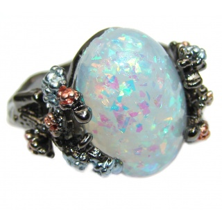 Large created Opal .925 Sterling Silver ring; s. 7 1/4
