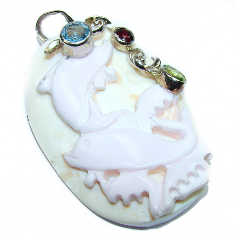 Artisan Design Carved Shell Delphines .925 Sterling Silver pendant