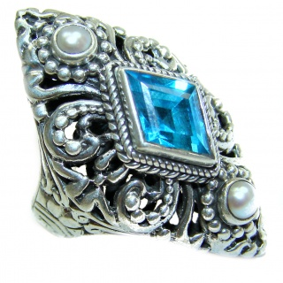 Bali Design Blue Aquamarine Topaz .925 Sterling Silver handmade ring s. 6