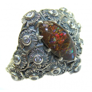 Pure Energy Genuine Canadian Ammolite .925 Sterling Silver handmade ring size 8