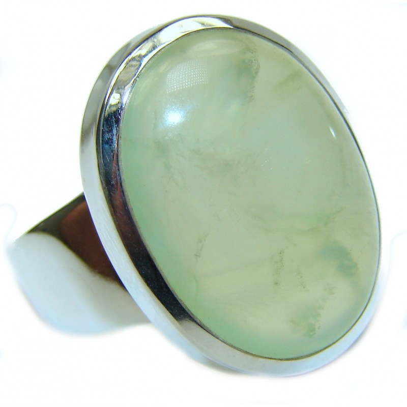 Natural Moss Prehnite .925 Sterling Silver handmade ring s. 8