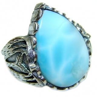 Huge Natural Larimar .925 Sterling Silver handcrafted Ring s. 7 1/4