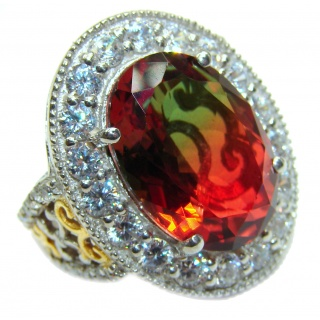Huge Top Quality Volcanic Tourmaline 18K Gold over .925 Sterling Silver handcrafted Ring s. 7