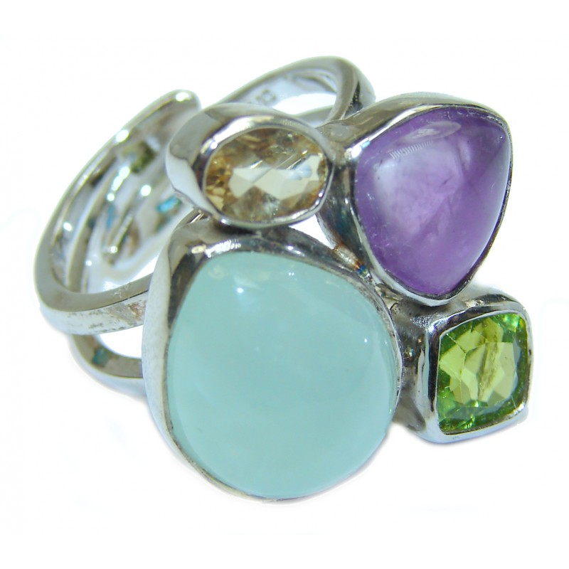 Fantastic Colorful Multistone .925 Sterling Silver Ring s. 7 adjustable