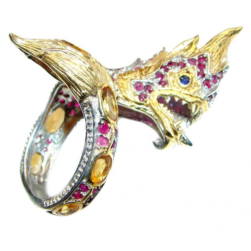 Huge Dragon Blood Red Ruby 18K Gold over .925 Sterling Silver Thai Dragon Ring s. 8