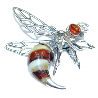 Masterpiece Honey Bee Baltic Polish Amber .925 Sterling Silver Handmade Pendant
