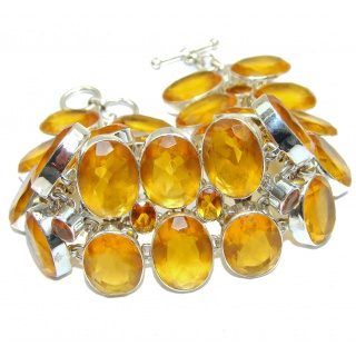 HUGE Sunny Day Yellow Quartz .925 Sterling Silver handmade Bracelet