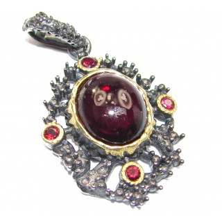 Beautiful genuine Garnet 18K Gold over .925 Sterling Silver handcrafted Pendant